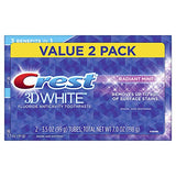 Crest 3D White Whitening Toothpaste, Radiant Mint, 3.5 oz, Pack of 2