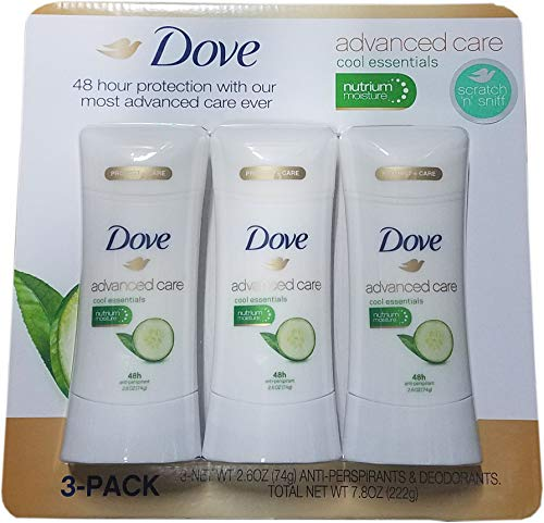 Dove Advanced Care Cool Essentials Antiperspirant, 2.6 Ounce (Pack of 3)