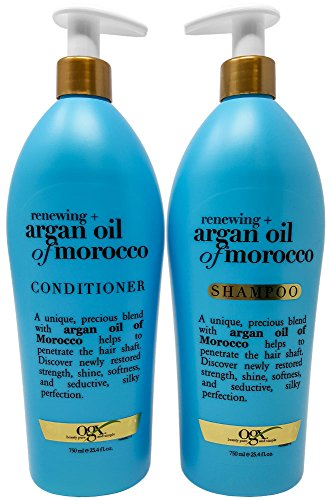 OGX Renewing Moroccan Argan Oil Shampoo and Conditioner Pump Bottle Salon Size Set (2 x 25.4 Oz)