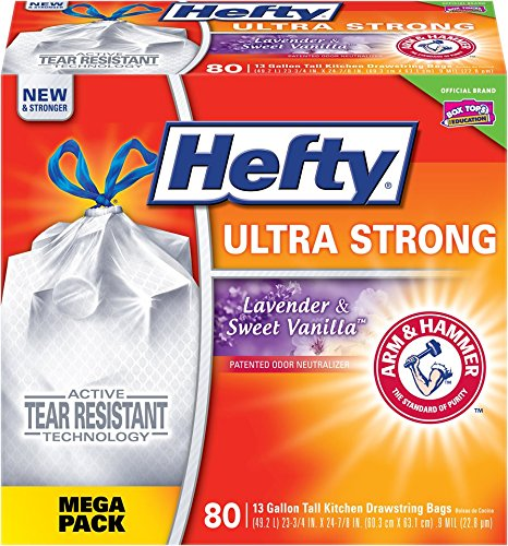 Hefty Ultra Strong Kitchen Trash Bags 13 Gallon Garbage Bags - Lavender Sweet Vanilla - Odor Control - Drawstring - 80 Count