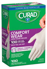 Curad Latex Exam Gloves, Pack of 100