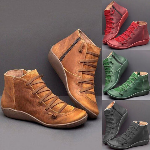 Round Toe Zipper Casual Ankle Boots for Bunions