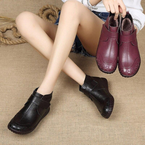 Vintage Flat Heel Ankle Boots Women's Walking Shoes for Bunions