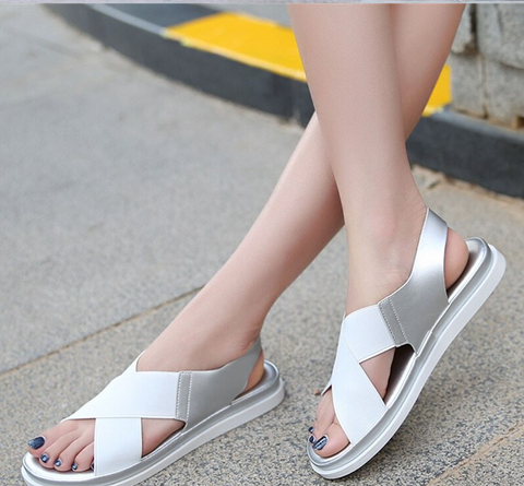 Elastic Flat Bunion Protective Wide Sandals
