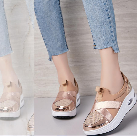 Fashionable Shoes for Bunions Platform Slip On Sneakers