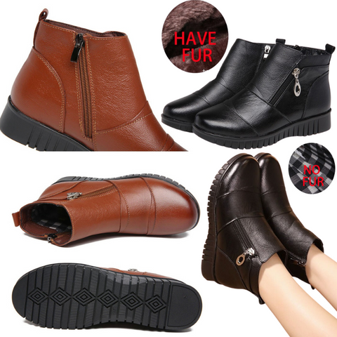 Women's Leather Ankle Boots for Bunions with Double Zipper