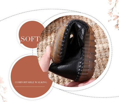 Genuine Leather Round Toe Flats Ladies Shoes for Bunions - Bunion Free