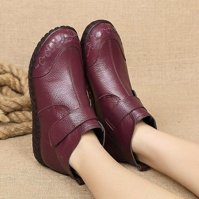 Vintage Flat Heel Ankle Boots Women's Walking Shoes for Bunions - Bunion Free