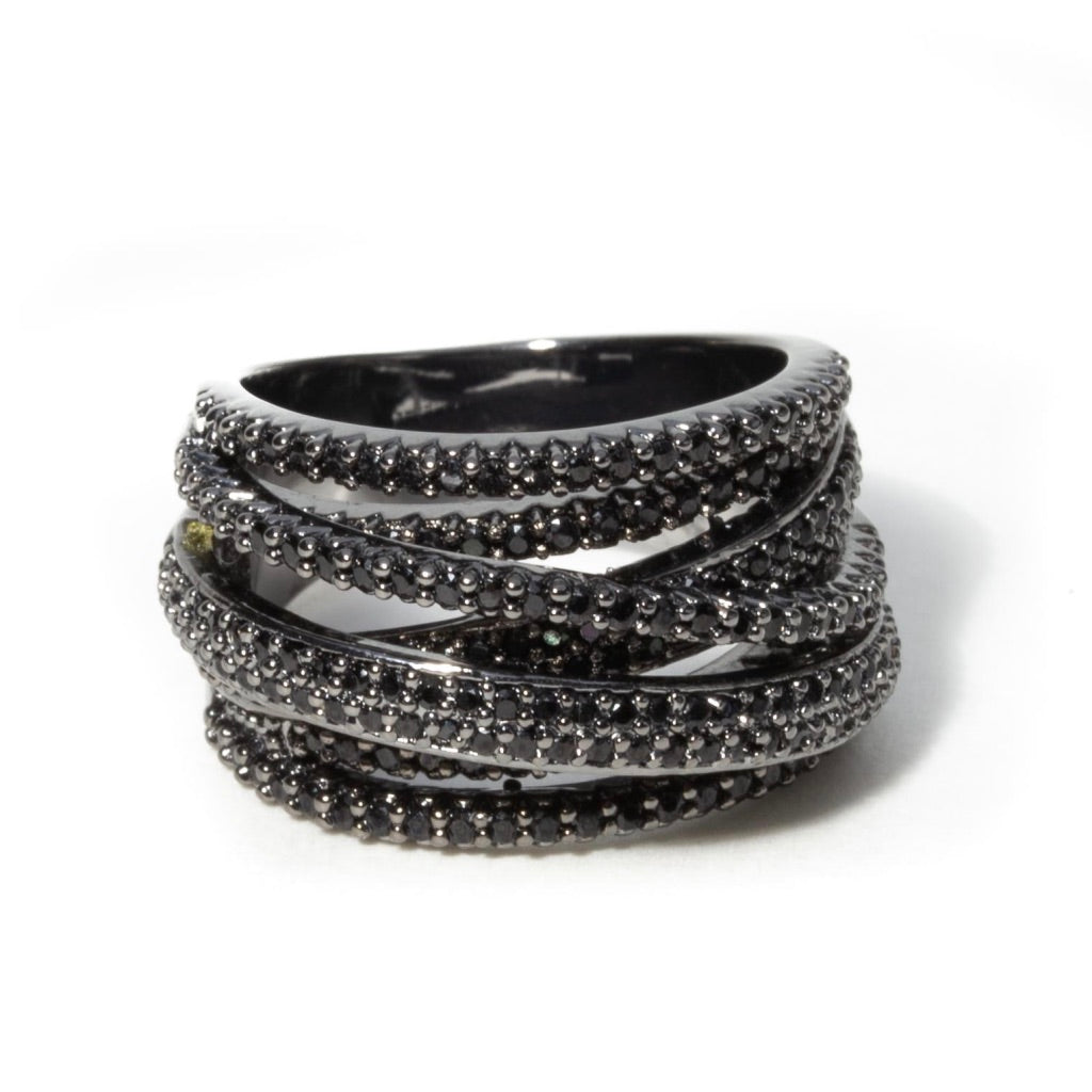 OXIDIZED PAVE LAYERED STACK RING