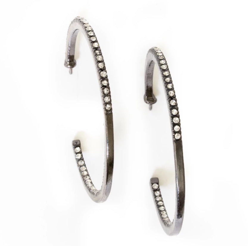 OXIDIZED PAVE HOOPS