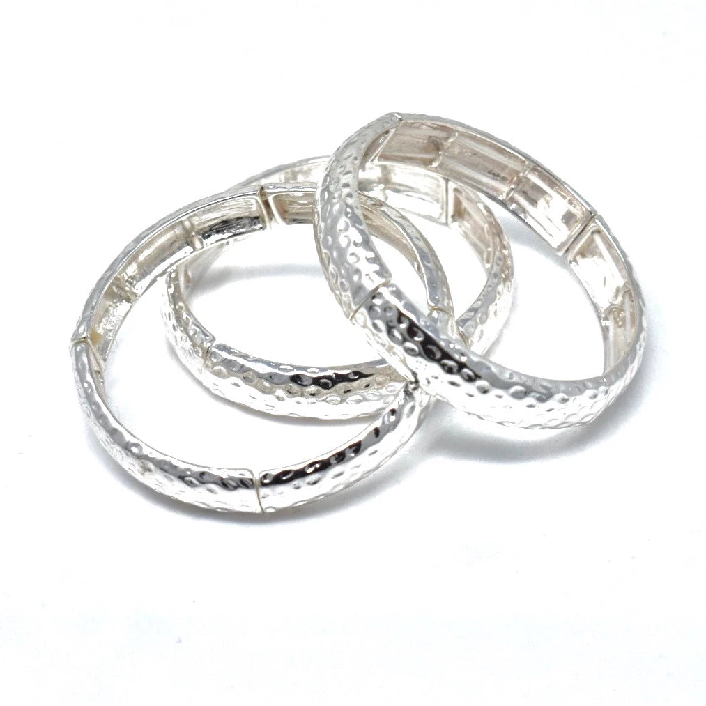 POLISHED HAMMERED ELASTIC BRACELETS (SET OF THREE)