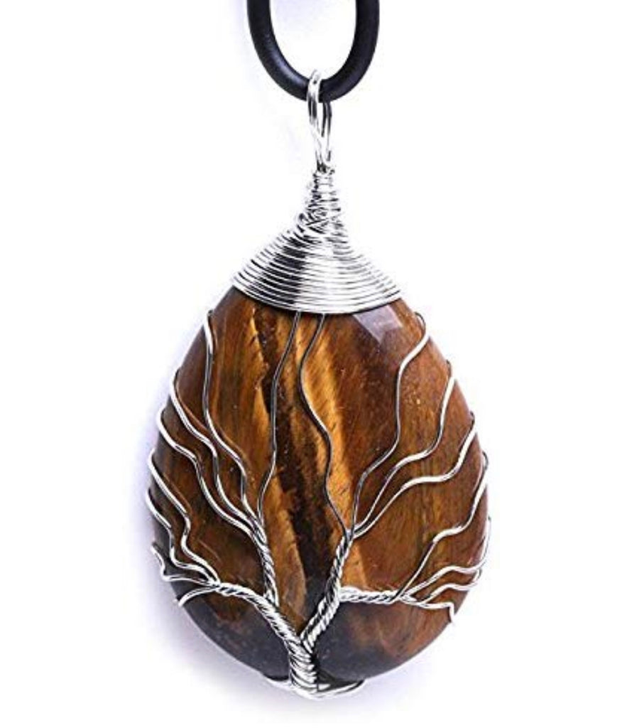WRAPPED TIGERS EYE TREE OF LIFE NECKLACE