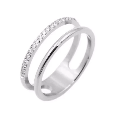 PAVE DOUBLE BRIDGE RING