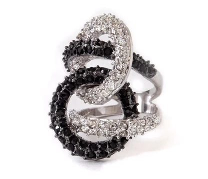 BLACK AND WHITE PAVE KNOT RING