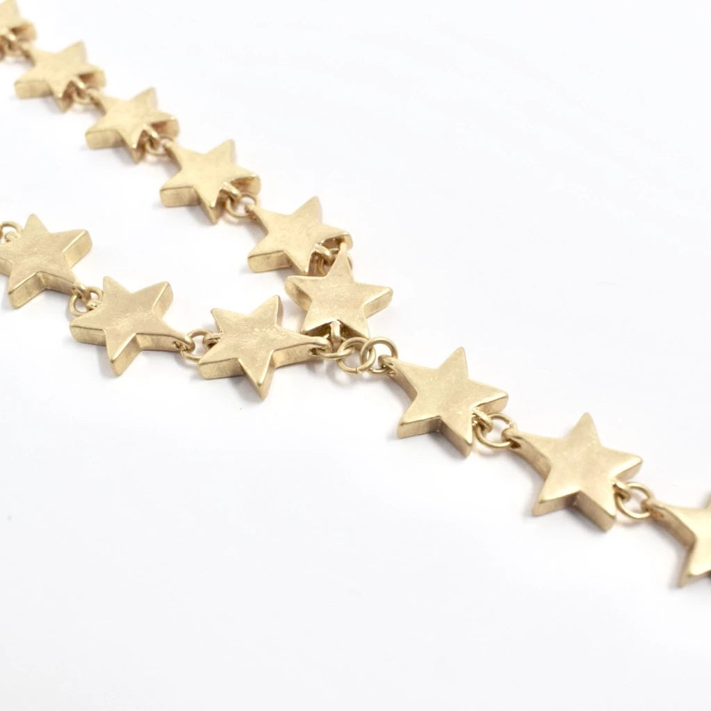 BRUSHED GOLD Y-SHAPED STAR NECKLACE
