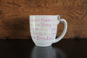 Faith45 - coffee mug - mug - you are beautiful - courageous - strong