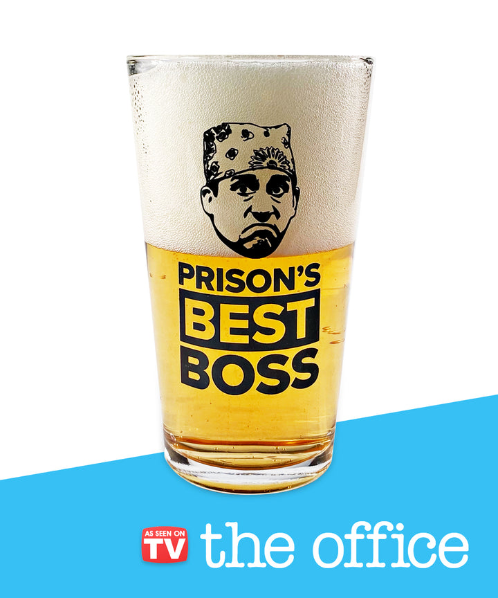 """Prison's Best Boss"" Beer Glass"