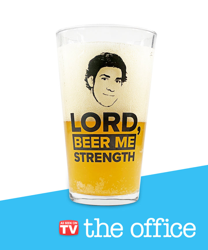 """Lord, Beer Me Strength"" Beer Glass"