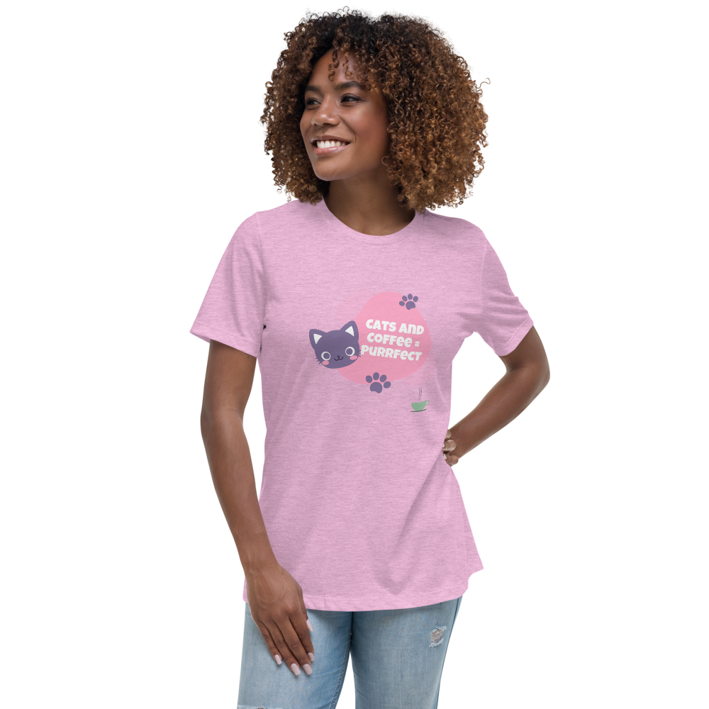 The Purrfect match. A cute cat with coffee! 100% Women's Relaxed T-Shirt - pupville