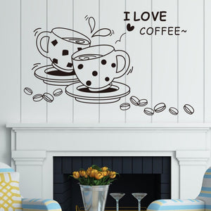 I love coffee wall decal removable cute coffee cup wall sticker - pupville