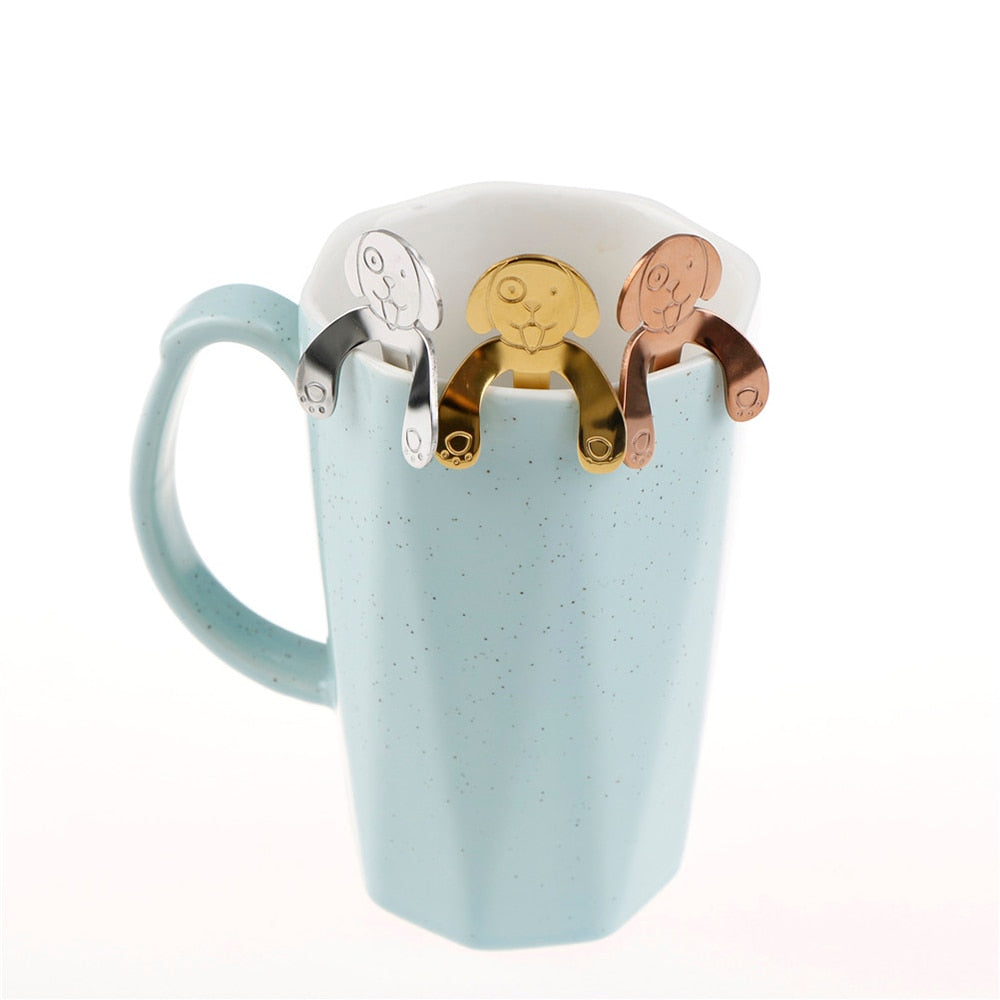 4Pcs/set Stainless Steel Lovely Dog Hanging Coffee Cup Spoons - pupville