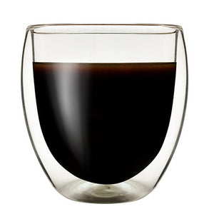 Heat Resistant Double Wall Glass Coffee Drinkwear Cup - pupville