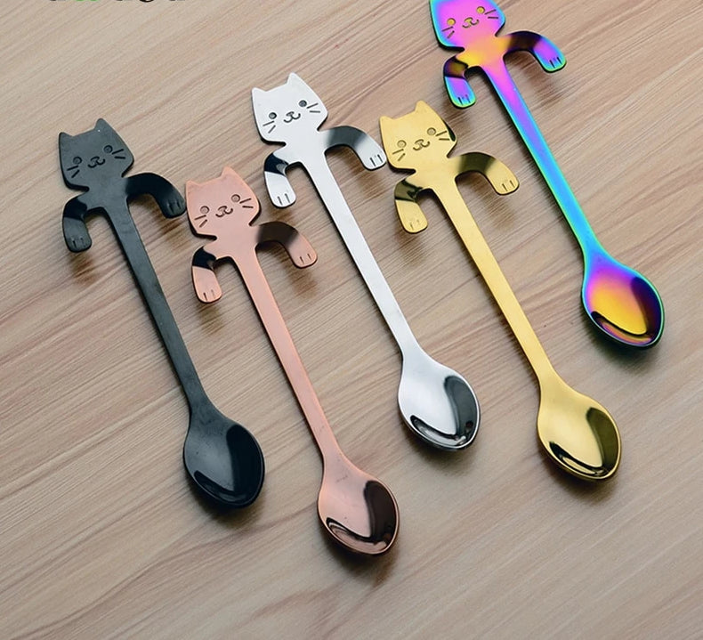 """Meow"" 4pcs Stainless Steel Mini Cat Kitten Coffee Spoons - pupville"