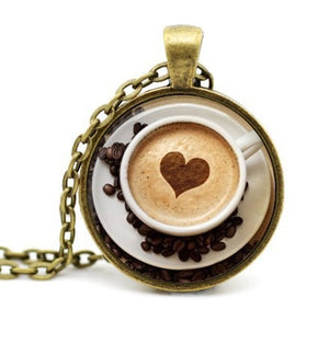 Trendy Cappuccino Pendant Heart Coffee Necklace - pupville