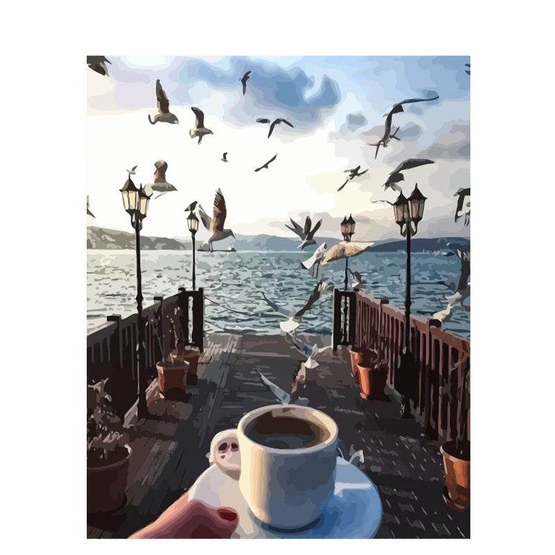 Beautiful Seagull Scenery While Enjoying Your Delicious Cup of Coffee - DIY Paint By Numbers Kit Art Canvas - pupville