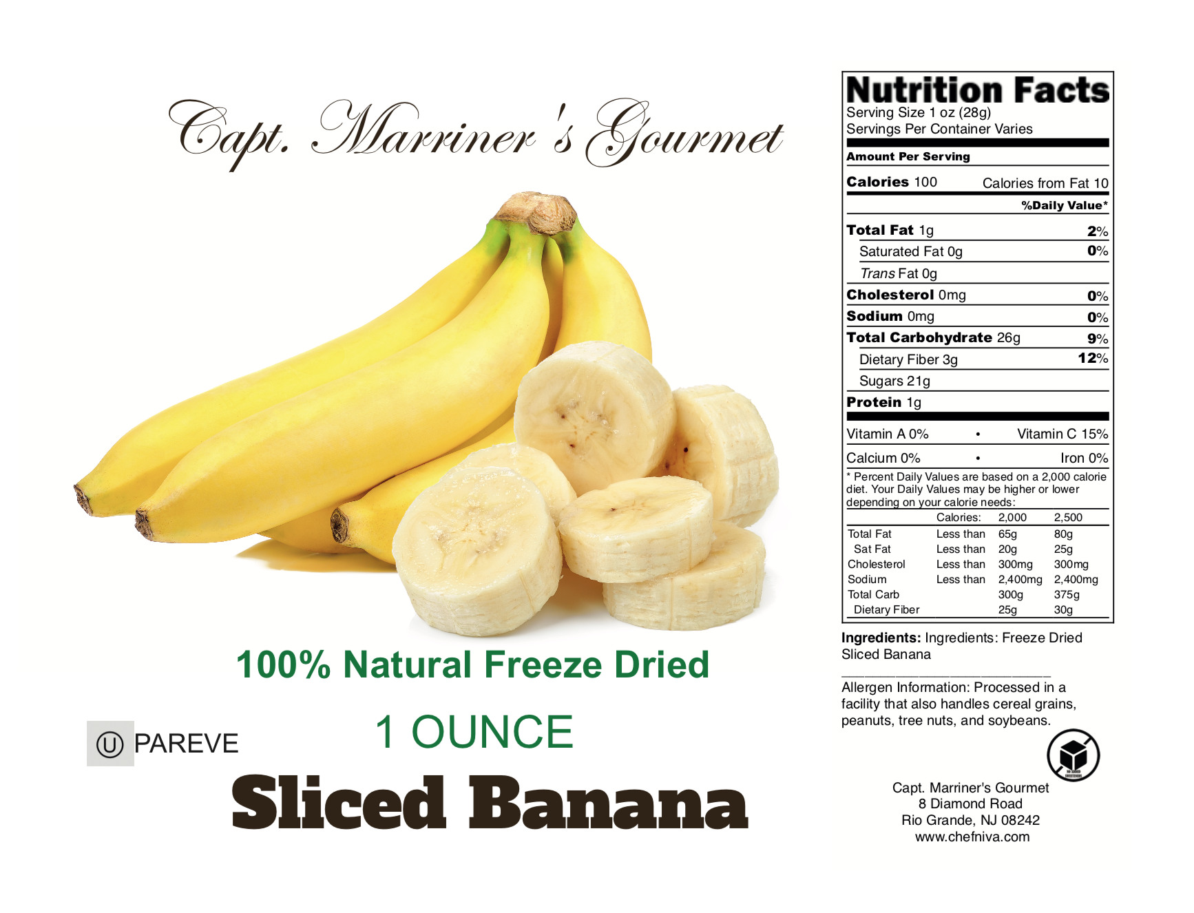 FREEZE DRIED SLICED BANANAS