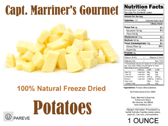 FREEZE DRIED DICED POTATOES