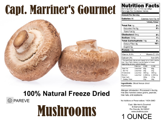 FREEZE DRIED MUSHROOMS