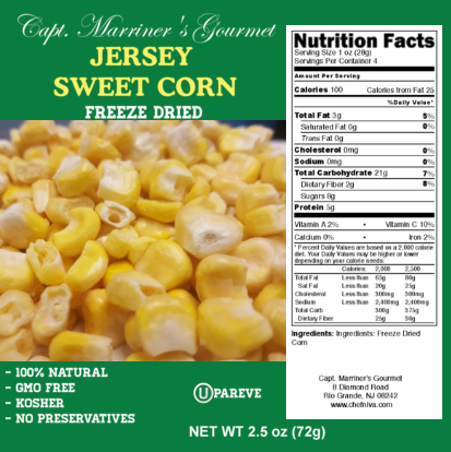 FREEZE DRIED SWEET JERSEY CORN