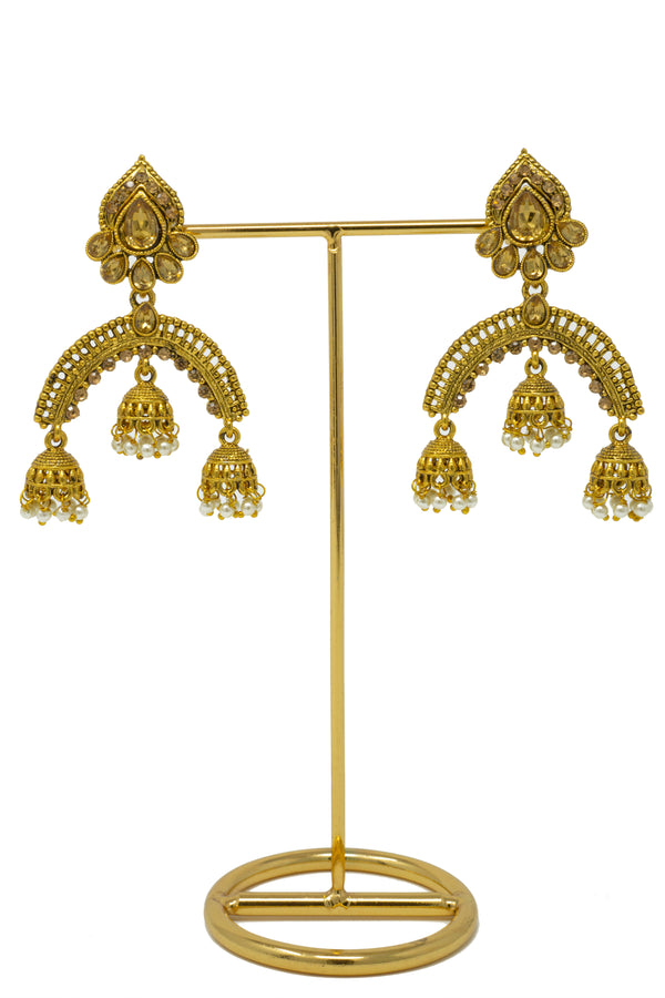 """Esha"" Gold Polki Jhumka Earrings"