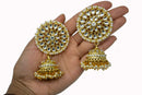 """Irene"" Large Gold Kundan Earrings and Tikka Set"