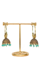 """Kareena"" Teal Jhumka Earrings"