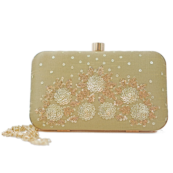 Golden Hand-Embroidered Clutch