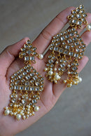 """Arya"" Long Gold Kundan Earrings"