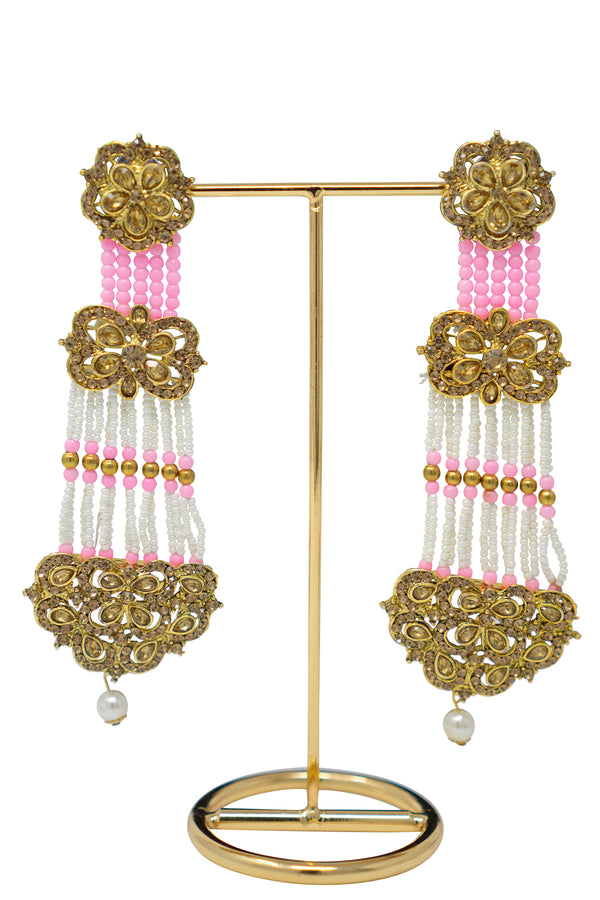 """Sonia"" Long Polki Earrings"