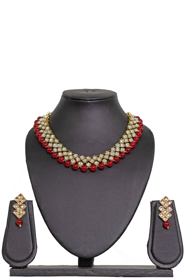 """Priya"" Red Kundan Necklace"