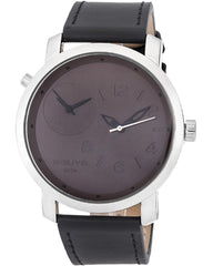 3GUYS 3G18509 Dual Time Black Leather Strap - Κοσμηματοπωλείο Goldy