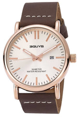 3GUYS 3G78805 Brown Leather Strap - Goldy Jewelry Store