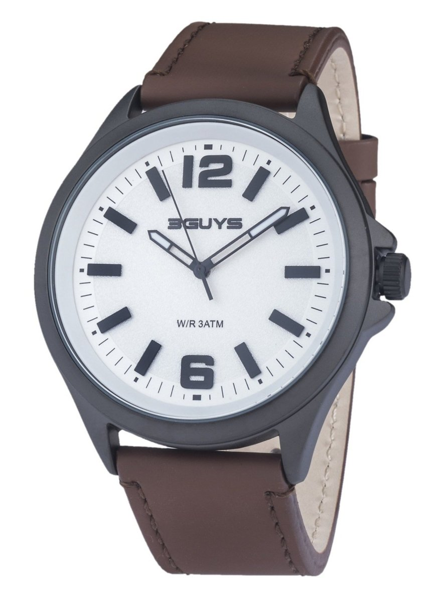 3GUYS 3G89002 Brown Leather Strap - Goldy Jewelry Store