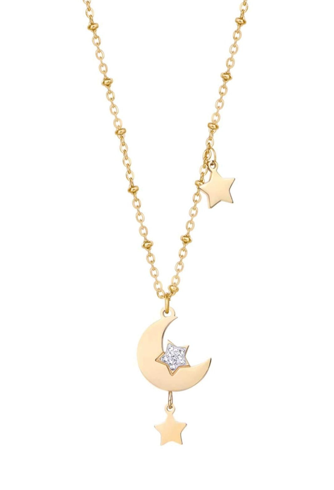 Luca Barra CK1486 Gold Plated Necklace with Moon