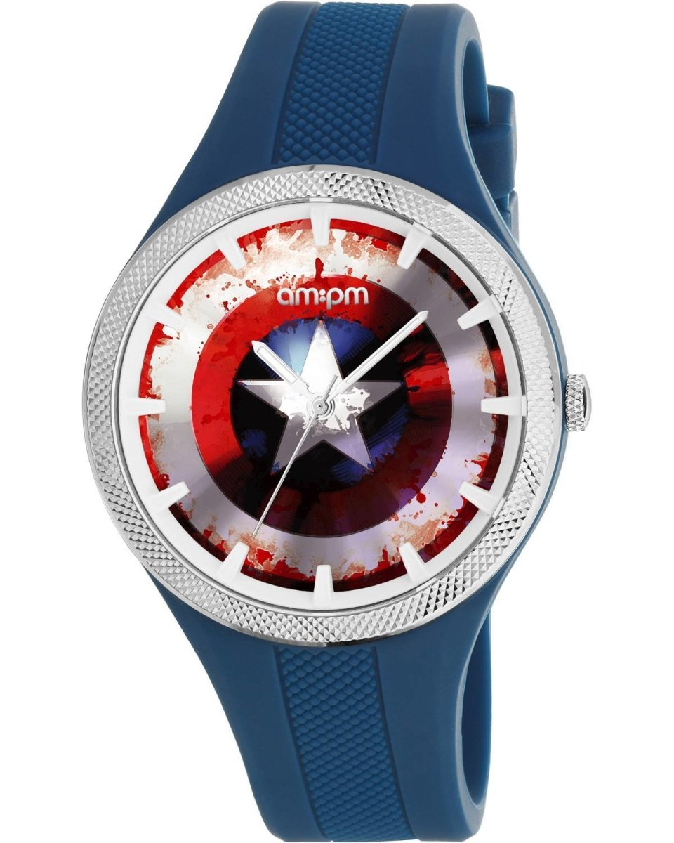 AM: PM MP200-U654 Marvel Captain American Blue Silicone Strap - Jewelry Goldy