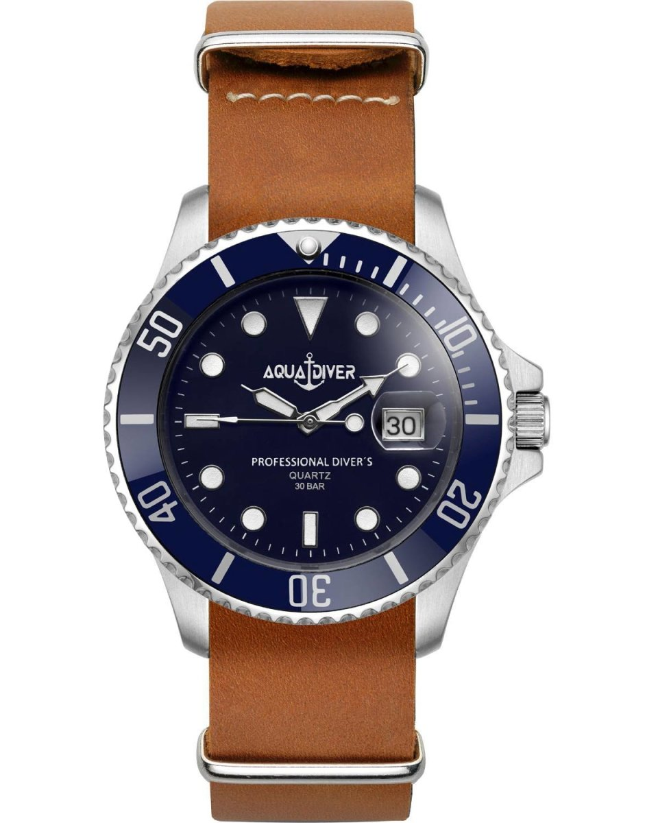 AQUADIVER 14584294L-BROWN Water Master 300M Brown Leather Strap - Κοσμηματοπωλείο Goldy