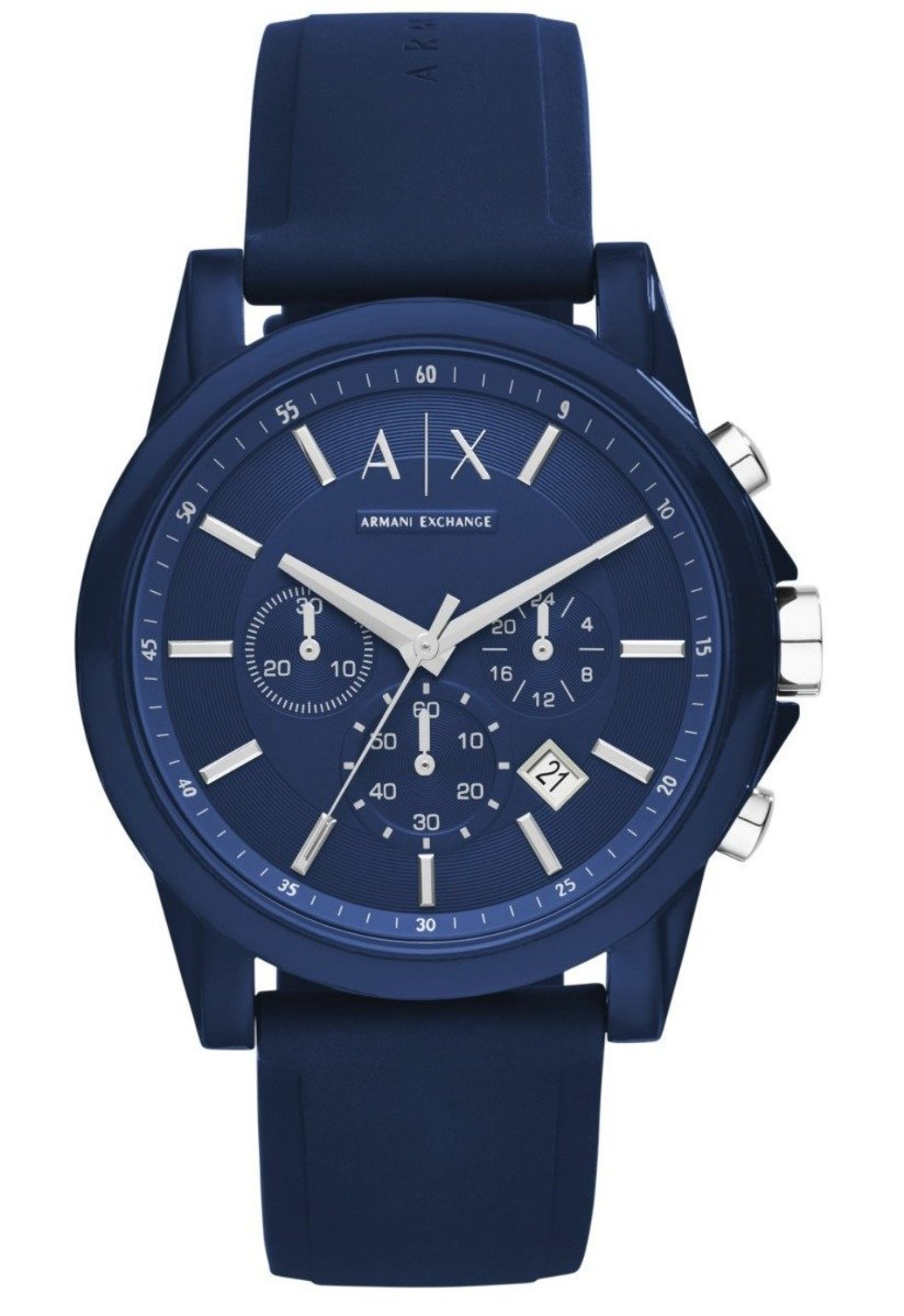 Armani Exchange AX1327 Outerbanks Chronograph Blue Rubber Strap - Κοσμηματοπωλείο Goldy
