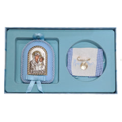 Silver Amulet MA / S006-2C with Virgin Mary and Constantine - Goldy Jewelry Store