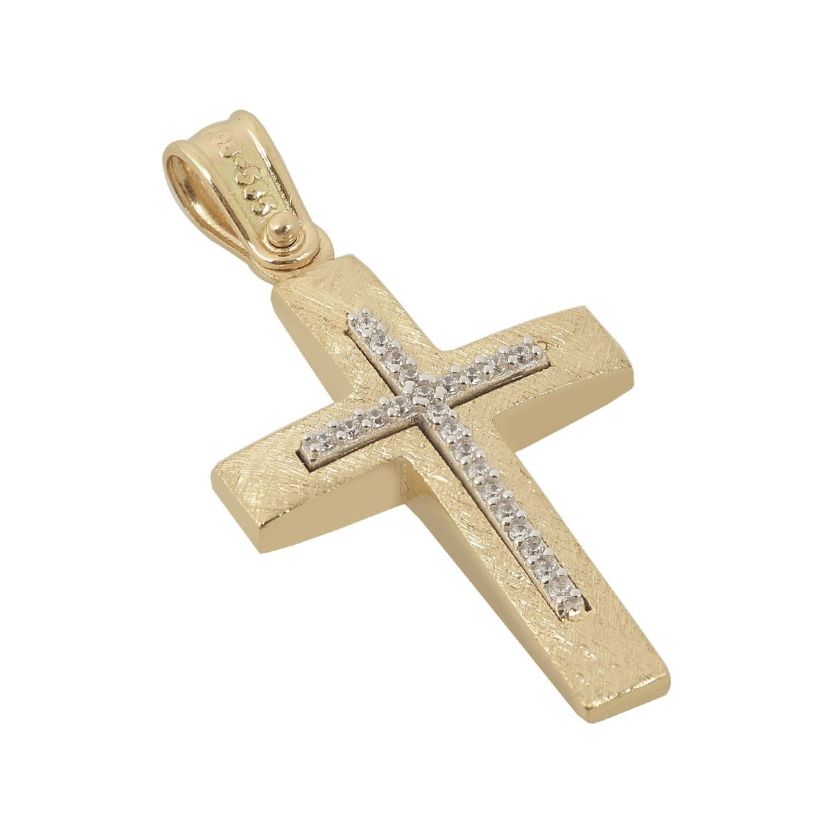 Christening Cross STA4444 Double Sided Gold K14 - Goldy Jewelry Store