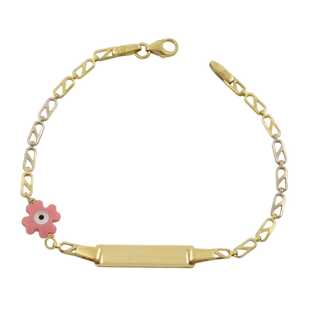 Children's Bracelet T120 Identity Gold with Cross and Eye K9 - Goldy Jewelry Store